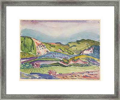 Mountain With Red House Framed Print by Charles Demuth
