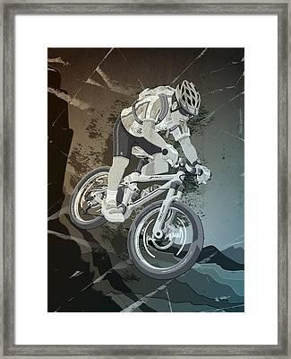 Mountainbike Sports Action Grunge Monochrome Framed Print by Frank Ramspott