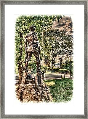 Framed Print featuring the photograph Mountaineer Statue At Lair by Dan Friend