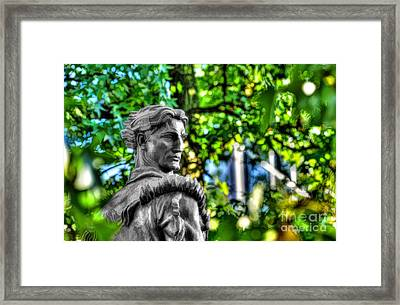 Mountaineer Statue In Trees Framed Print by Dan Friend