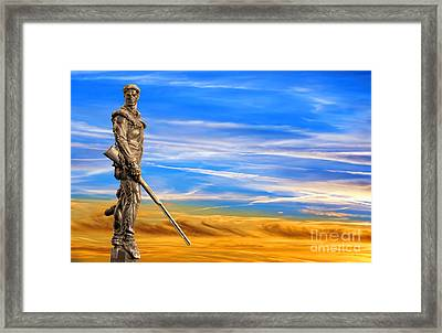 Framed Print featuring the photograph Mountaineer Statue With Blue Gold Sky by Dan Friend