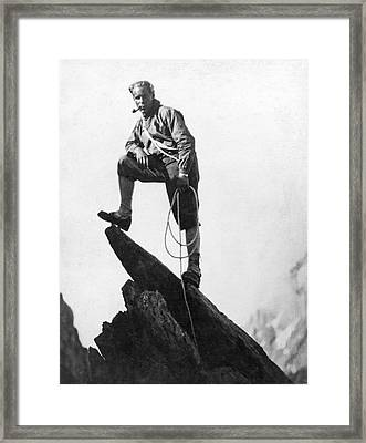 Mountaineer Takes A Break Framed Print by Underwood Archives
