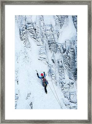 Mountaineer Winter Climbing Framed Print by Ashley Cooper
