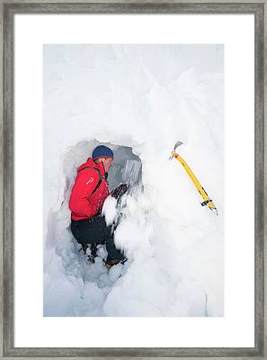 Mountaineers Building Snow Holes Framed Print