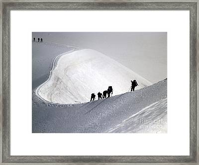 Mountaineers To Conquer Mont Blanc Framed Print