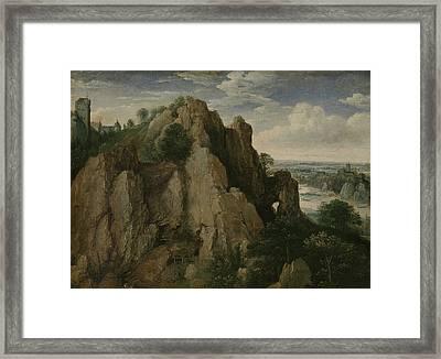 Mountainous Landscape, Lucas Van Valckenborch Framed Print