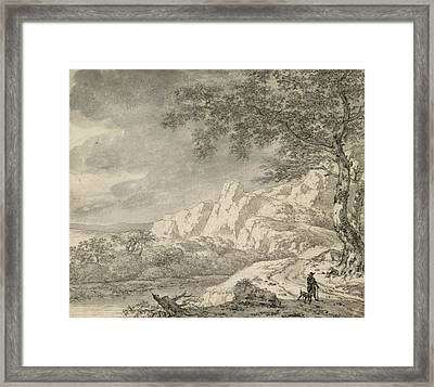Mountainous Landscape With A Hiker Chalk And Indian Ink On Paper Framed Print