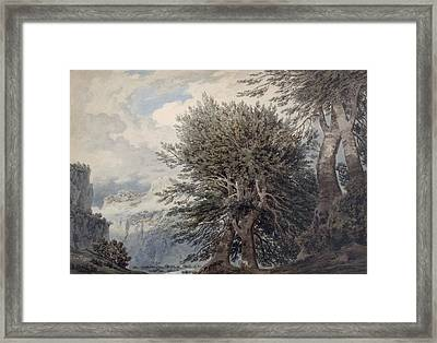 Mountainous Landscape With Beech Trees Framed Print by John Robert Cozens