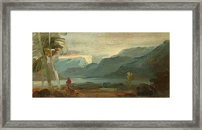 Mountainous Landscape With Figures And Cattle Rocky Framed Print by Litz Collection