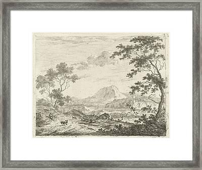 Mountainous Landscape With Resting Shepherd Framed Print