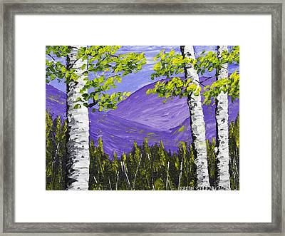 Mountains And Birch Trees In Spring Pallete Knife Painting Framed Print by Keith Webber Jr