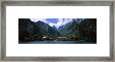 Mountains And Buildings On The Coast Framed Print by Panoramic Images