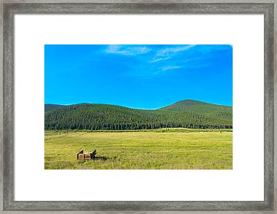Mountains And Fields Framed Print by Mark Andrew Thomas