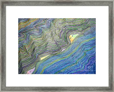 Framed Print featuring the drawing Mountains And Oceans by Mukta Gupta