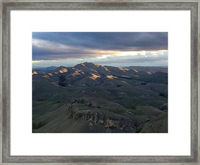 Mountains At Sunset Framed Print by Ron Torborg