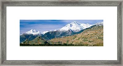 Mountains, Canton Of Valais, Switzerland Framed Print