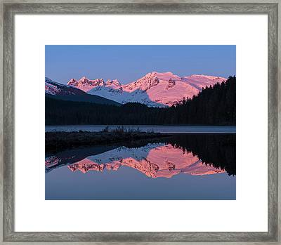 Mountains Glowing Pink At Sunrise Framed Print by John Hyde