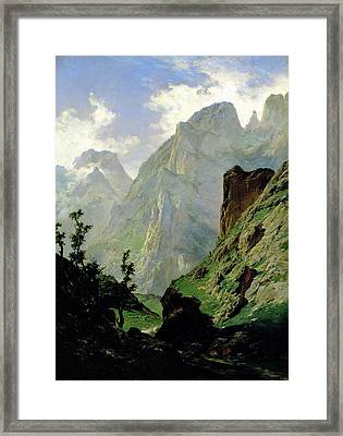 Mountains In Europe Framed Print by Carlos de Haes