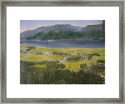 Mountains In Montana At Flathead Lake Framed Print