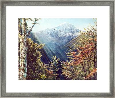 Mountains In The Mist Framed Print by Peter Jean Caley