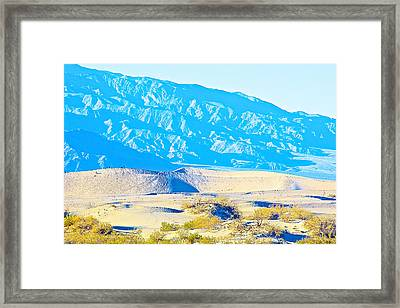 Mountains Loom Over Mesquite Flat Sand Dunes In Death Valley National Park- California  Framed Print by Ruth Hager
