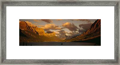 Mountains Surrounding A Lake, St. Mary Framed Print by Panoramic Images