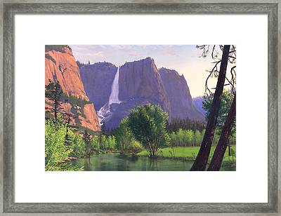 Mountains Waterfall Stream Western Mountain Landscape Oil Painting Framed Print by Walt Curlee