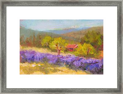 Framed Print featuring the painting Mountainside Lavender   by Talya Johnson
