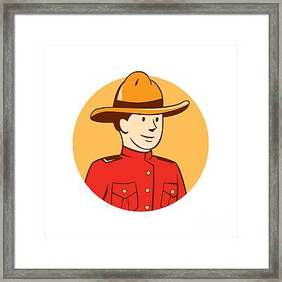 Mounted Police Officer Bust Circle Cartoon Framed Print