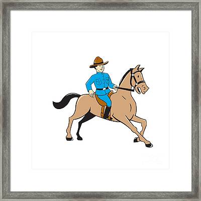 Mounted Police Officer Riding Horse Cartoon Framed Print