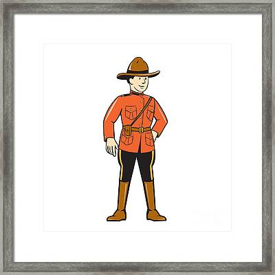 Mounted Police Officer Standing Front Framed Print