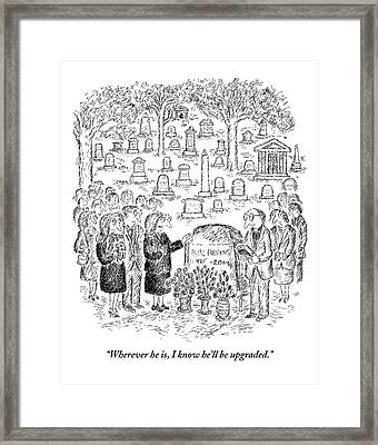 Mourners Stand Around A Gravestone Framed Print
