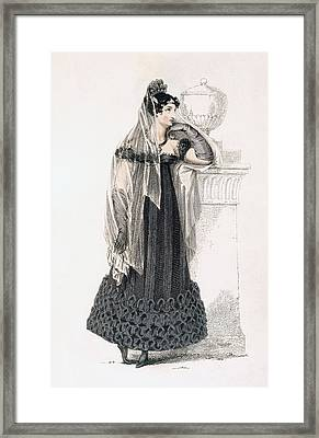 Mourning Dress, Fashion Plate Framed Print by English School
