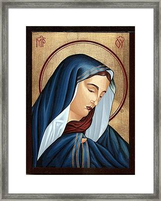 Mourning Virgin Mary Framed Print by Doru Ionut Pustianu