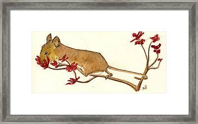 Mouse Flowers Framed Print by Juan  Bosco