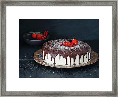 Mousse Cake With Chocolate Icing And Framed Print by Eugene Mymrin