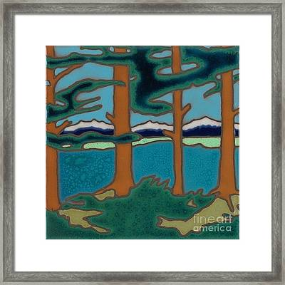 Moutain Lake Scene Framed Print by Elany  Prusa