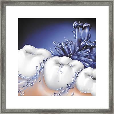 Mouthwash Swirling Around Teeth Framed Print