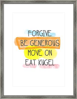 Move On And Eat Kugel Framed Print by Linda Woods
