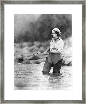 Movie Actress Trout Fishing Framed Print