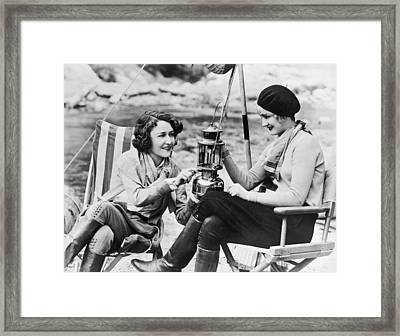 Movie Actresses Camping Framed Print by Underwood Archives
