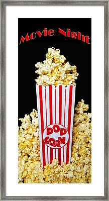 Movie Night Pop Corn Framed Print