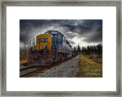 Moving Along In A Train Engine Framed Print by Melissa Messick