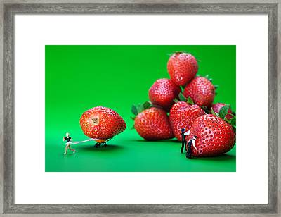 Framed Print featuring the photograph Moving Strawberries To Depict Friction Food Physics by Paul Ge
