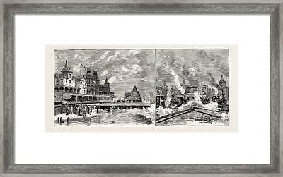 Moving The Brighton Beach Hotel, Coney Island, New York Framed Print by American School