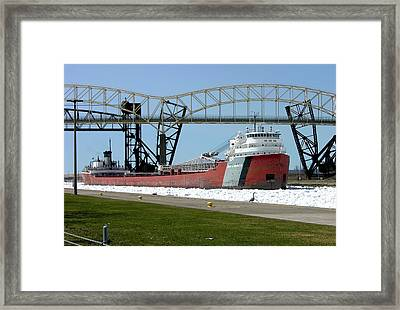 Moving Through The Ice To The Soo Locks Framed Print by Keith Stokes