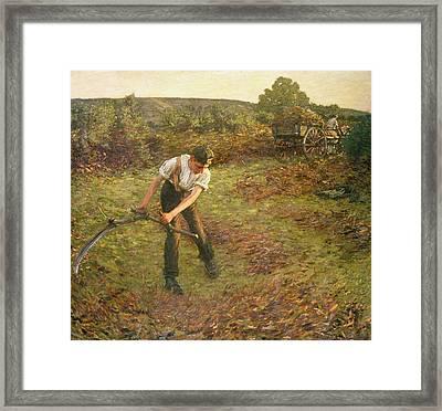 Mowing Bracken Framed Print by Henry Herbert La Thangue