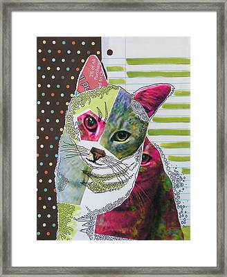 Moxie...abstract Cat Painting Framed Print