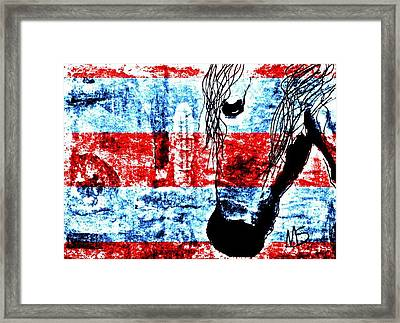 Mprints Red White And Blue Framed Print by M  Stuart
