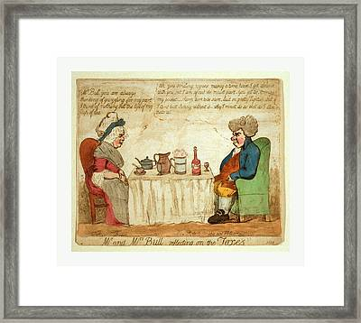 Mr. And Mrs. Bull Reflecting On The Taxes Framed Print by Litz Collection